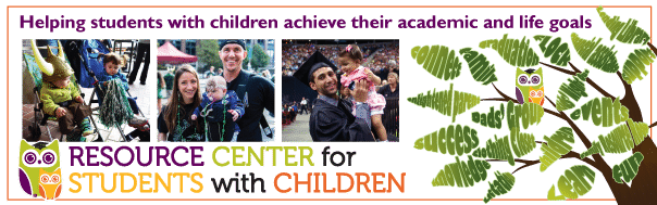 A large banner for Portland State University's Resource Center for Students with Children