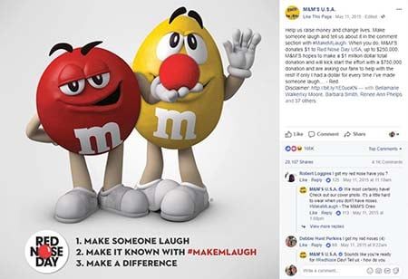 M&Ms Red Nose Day campaign