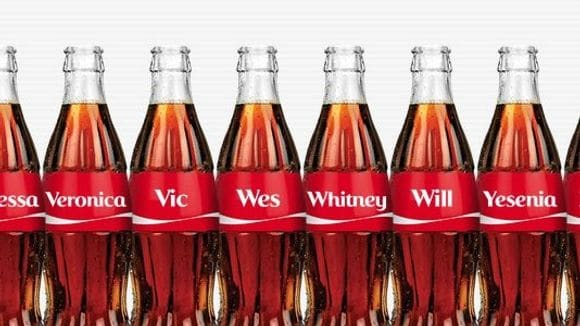 Coca Cola bottles with names